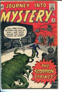 JOURNEY INTO MYSTERY #82 1962-MARVEL-JACK KIRBY-DON HECK-STEVE DITKO-vg