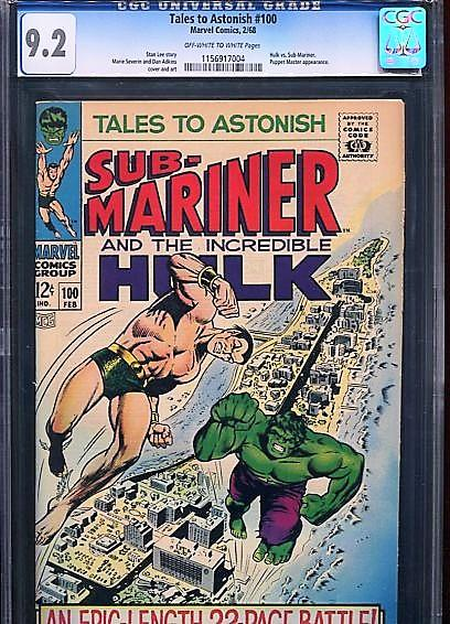 TALES TO ASTONISH  #100  CGC 9.2  OW/W PAGES (1968) BEAUTIFUL