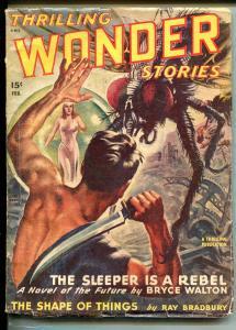 THRILLING WONDER STORIES 02/1948-GIANT SPIDER-RAY BRADBURY-BERGEYPULP-vg