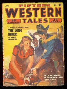 FIFTEEN WESTERN TALES PULP JAN 1954-GIRL RESCUE COVER VG