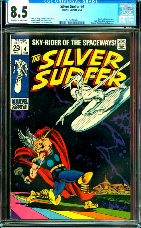 Silver Surfer #4 CGC Graded 8.5 Classic Thor vs Silver Surfer Cover