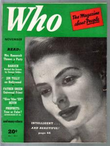 Who #7 11/1941-Magazine About people-Fulton Sheen-Ingrid Bergman-Lily Pons-FN