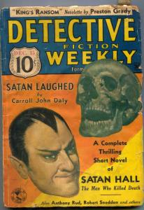 Detective Fiction Weekly Pulp December 15 1934- Satan Hall skull cover