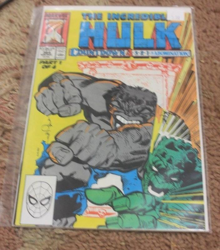 Incredible Hulk comic # 364 1989, Marvel ABOMINATION COUNTDOWN PT 1 GREY HULK
