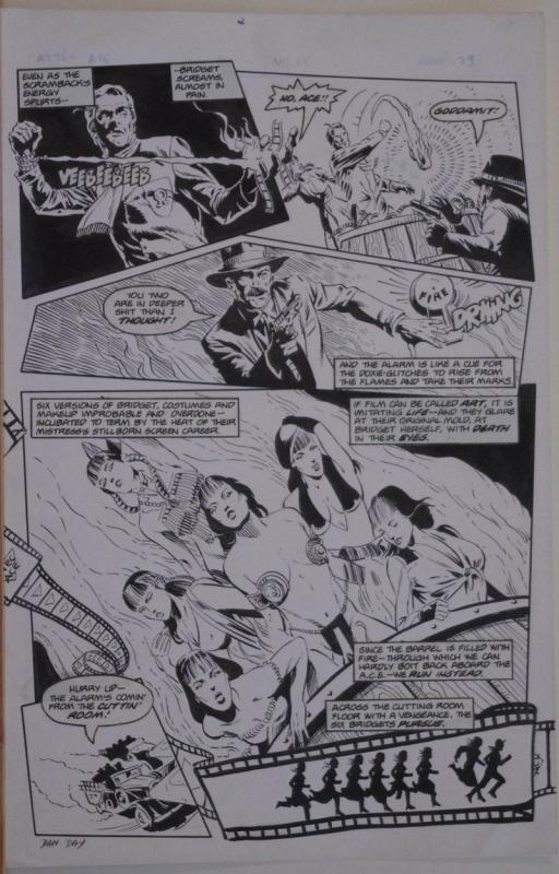 DAN DAY / MIKE GUSTOVICH original art, AZTEC ACE #15 pg 23, 1985,11x17, Signed
