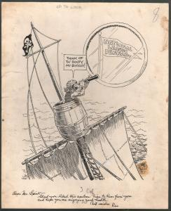 Leo O'Melia Original Sporting News Cartoon Art 1940's-Taylor Spink-pirates-VG