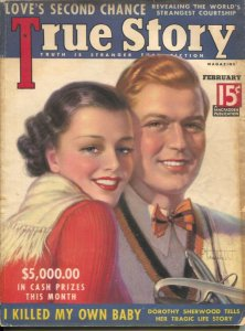 True Story 2/1937-exploitation-scandal-Tchetchet cover-lurid pulp stories-VG