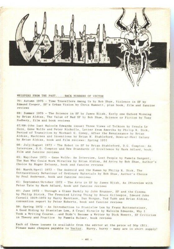 VECTOR #71-DEC 1975-BRITISH SCI-FI FANZINE-PULP THRILLS & MYSTERY---RARE