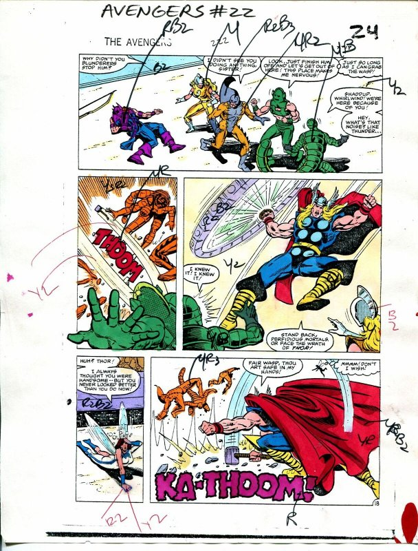 Avengers #222 1982 Hand Painted  Colorguide Page 18-Tiger Shark, Hawkeye-Thor-VG