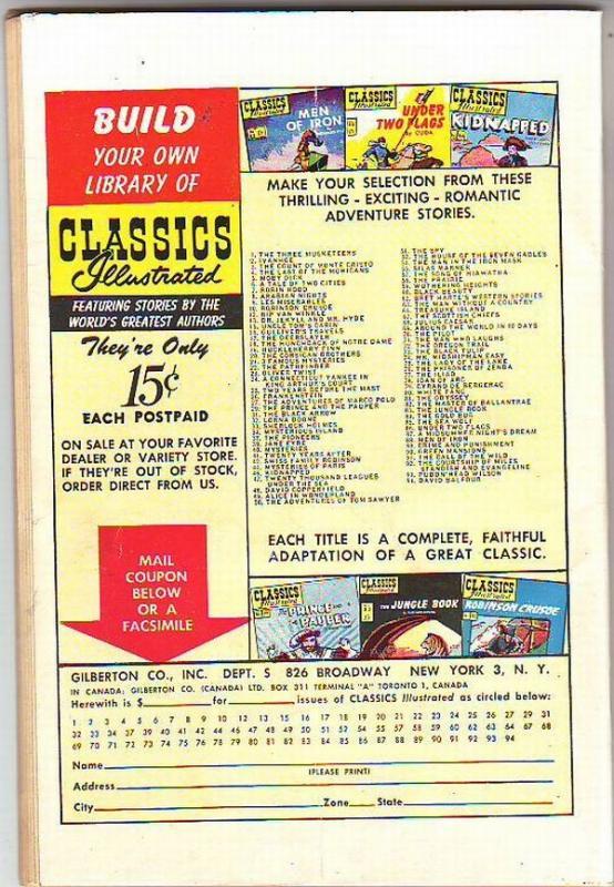 Classics Illustrated #94 (Apr-52) VG+ Mid-Grade