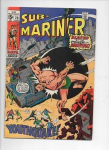 SUB-MARINER #28, VG+, Buscema, Brutivac, Youth Quake, 1968 1970, more in store