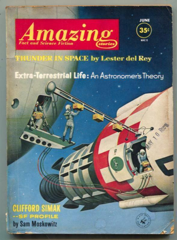 Amazing Stories June 1962- Schomburg cover- Thunder in Space