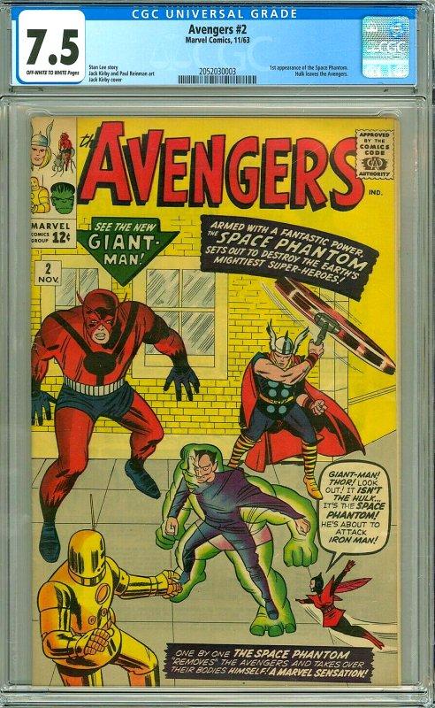Avengers #2 CGC Graded 7.5 1st appearance of the Space Phantom. Hulk leaves t...