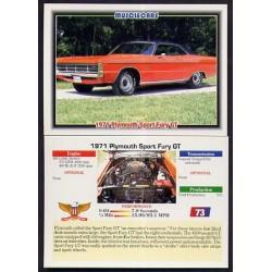 1992 Collect-A-Card Musclecars 1971 PLYMOUTH SPORT FURY GT #73