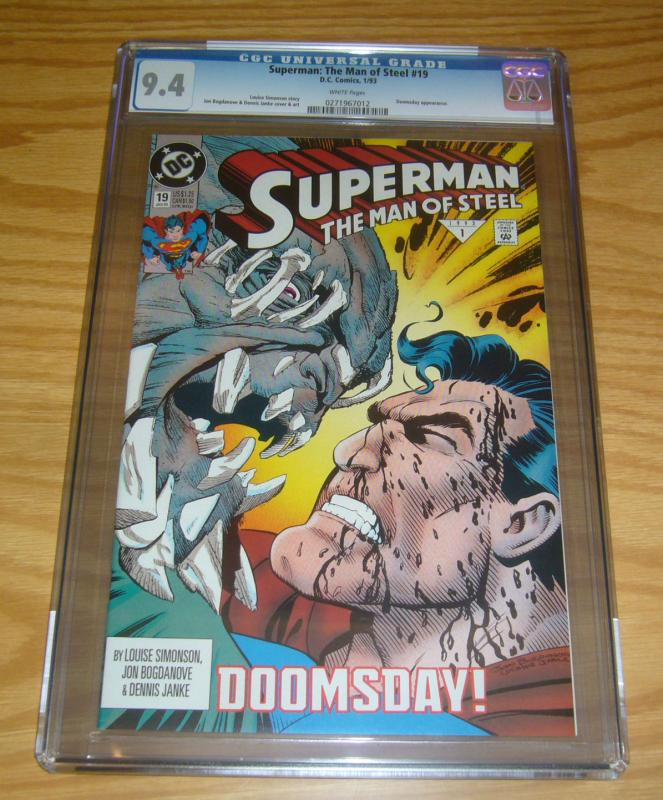 Superman: the Man of Steel #19 CGC 9.4 early doomsday cover - dc comics 1993 1st