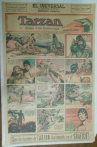 Tarzan Sunday Page #595 Burne Hogarth from 8/2/1942 in Spanish ! Full Page Size