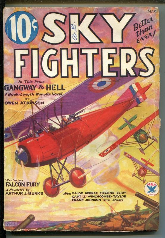 SKY FIGHTERS 03/1934-AIR WAR PULPS-WWI-ARTHUR J BURKS-vg/fn
