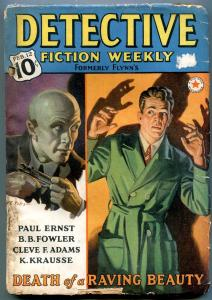 Detective Fiction Weekly Pulp February 12 1938-Death of a Raving Beauty VG