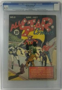 All Star Comics #5~ 1941 DC ~ CGC 4.5(VG+) 1st Appearance of Hawkgirl