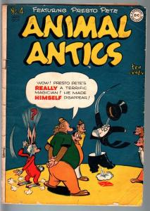 ANIMAL ANTICS #4-MAGICIAN COVER-DC FUNNY ANIMAL-1946 VG