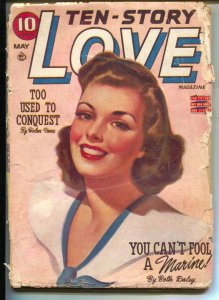 Ten-Story Love 3/1943-pin-up girl cover-female pulp fiction authors-WWII-FR/G