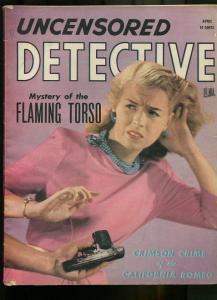 UNCENSORED DETECTIVE APR 1946-WILD TRUE CRIME-PULP-MAGAZINE VG