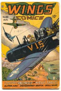 Wings #60 1945- Fiction House-  Hells Eagles G