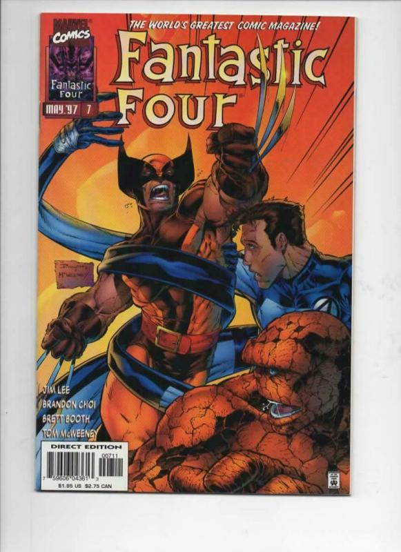 FANTASTIC FOUR #7, Vol 2, NM-, Jim Lee, Human Torch, more FF in store, 1996 1997