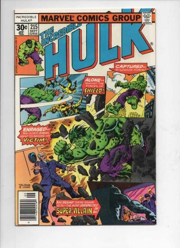 HULK #215, VF+, Incredible, Bruce Banner, Bi Beast, 1968 1977, Marvel