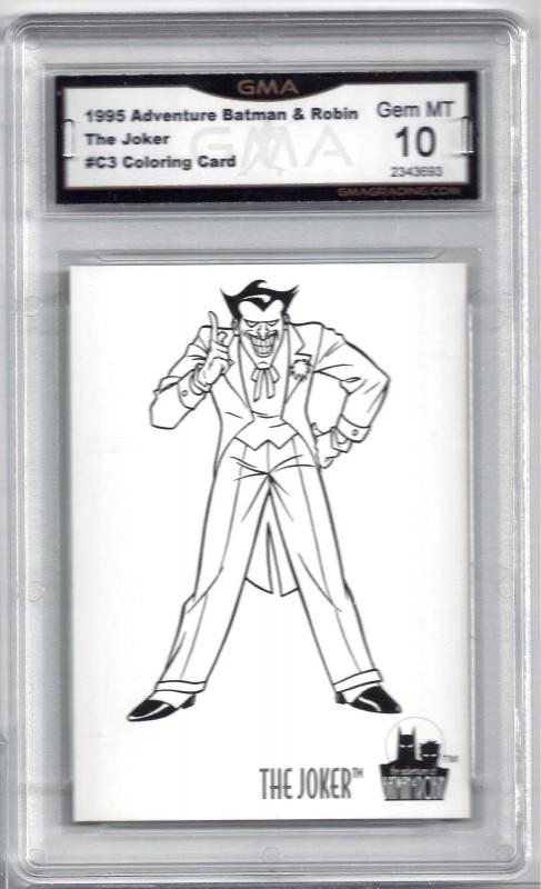 1995 Skybox Batman & Robin Coloring Card #C3 The Joker - Graded Gem Mint 10