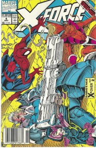 X-Force #4 (Nov 91) -BAR CODE -Cable,Domino, Spider-Man, S.H.I.E.L.D.,Juggernaut