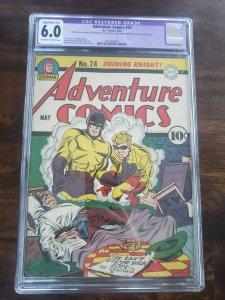 Adventure Comics 74 CGC 6.0 purple restoration label
