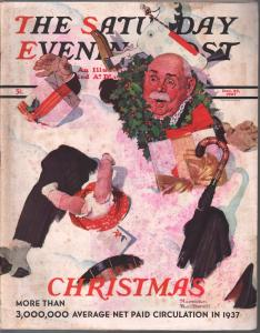 Saturday Evening Post  12/25/1937-Rockwell Christmas-cover-complete magazine-VG