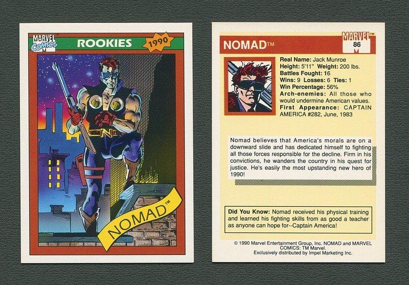1990 Marvel Comics Card  #86 (Nomad) / MINT