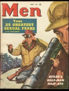 MEN MAGAZINE MAR 1954-CAVE EXPLORING-1/2 MAN 1/2 CHIMP! FN