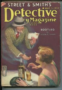 Detective Story Pulp March 5 1932- Bootleg- Judson Philips- Great cover VG+