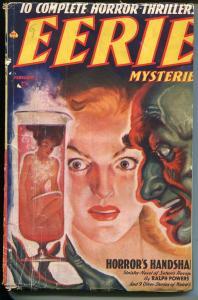 Eerie Mysteries #3-2/1939-testube woman cover-violent art-horror pulp-G/VG