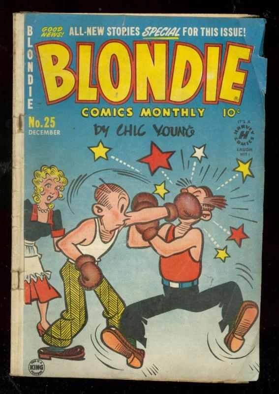 BLONDIE COMICS #25 1950-CHIC YOUNG-BOXING COVER-RARE!! FR/G