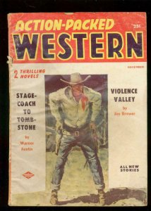 ACTION-PACKED WESTERN PULP-NOV 1956-WYATT EARP STORY- G/VG