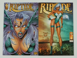 Riptide #1-2 VF/NM complete series - youngblood spin-off - rob liefeld bad girl