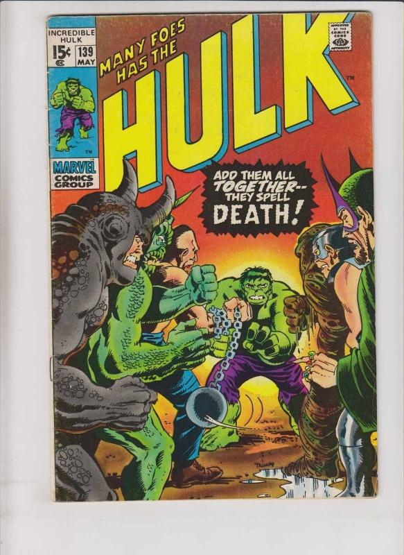 Incredible Hulk #139 FN- rhino - abomination - absorbing man - mandarin - glob