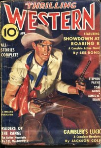 THRILLING WESTERN  APR 1936--RAIDERS OF THE RANGE by SLY MacDOWEL---STEPHEN P...