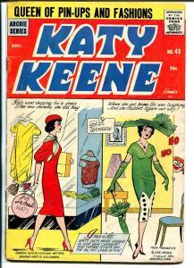 Katy Keene #43 1958-Archie-paper dolls-fashions-Bill Woggon-pin-upstyle art-VG
