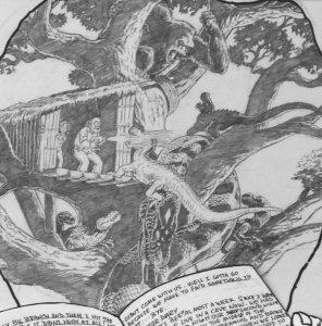 BUDD ROOT original published art, CAVEWOMAN #3 pg #16, 1st series ,14x17, 1994