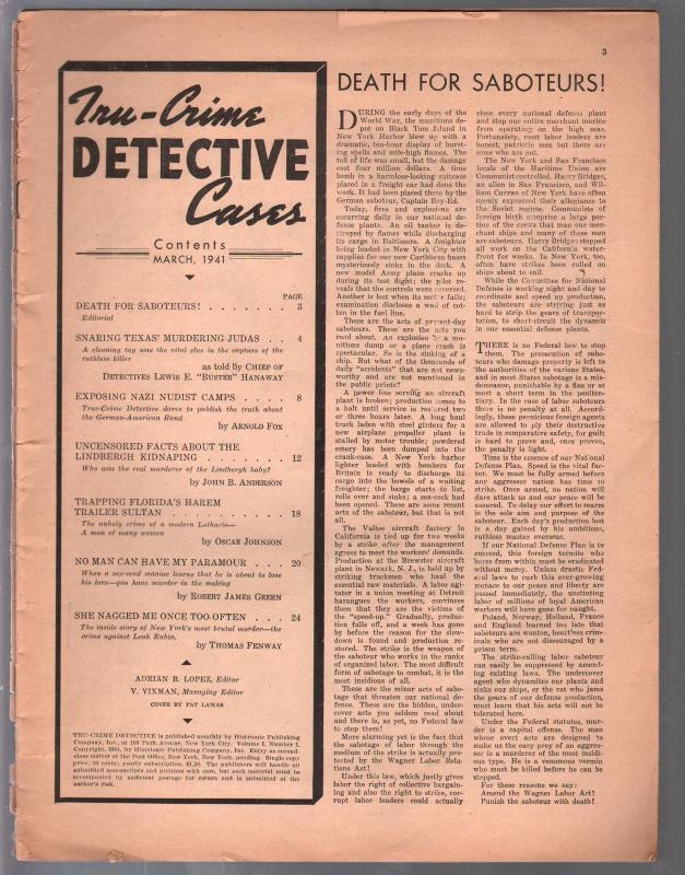 Tru-Crime Detective Stories-3/1941-1st issue-strangulation-bondage-Nazi Nudist C