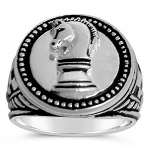 Knights Chess Sterling Silver signet ring