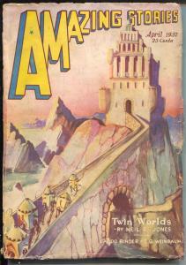 Amazing Stories 4/1937-Robot cover-sci-fi pulp thrills-Eando Binder-VG