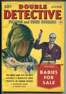 Double Detective-June 1940-Red Star-Green Lama issue-pulp detective stories-VF