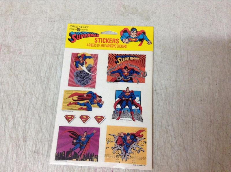 Superman American Greetings Sticker Pack Forget Me Not 1991 4 Sheets SEALED BNT