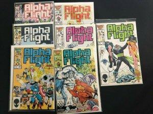 ALPHA FLIGHT  V1 [LOT OF 7], #'s 30.31,34,36-39] MARVEL 1983 - 1986 / NM